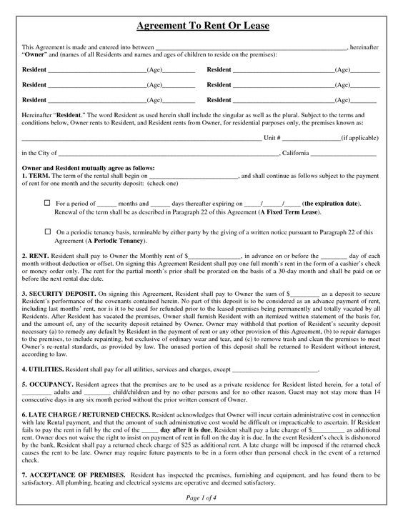 House Lease Agreement Form Free Property Rentals Direct - rental