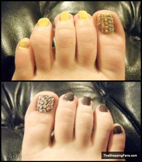 gold  silver toe nail art