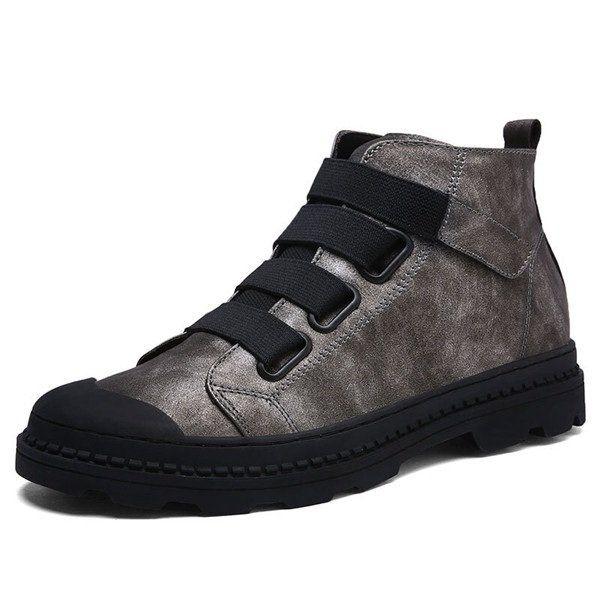 Men Elastic Laces Hook-loop Wearable Work Leather Boots  men shoes fashion