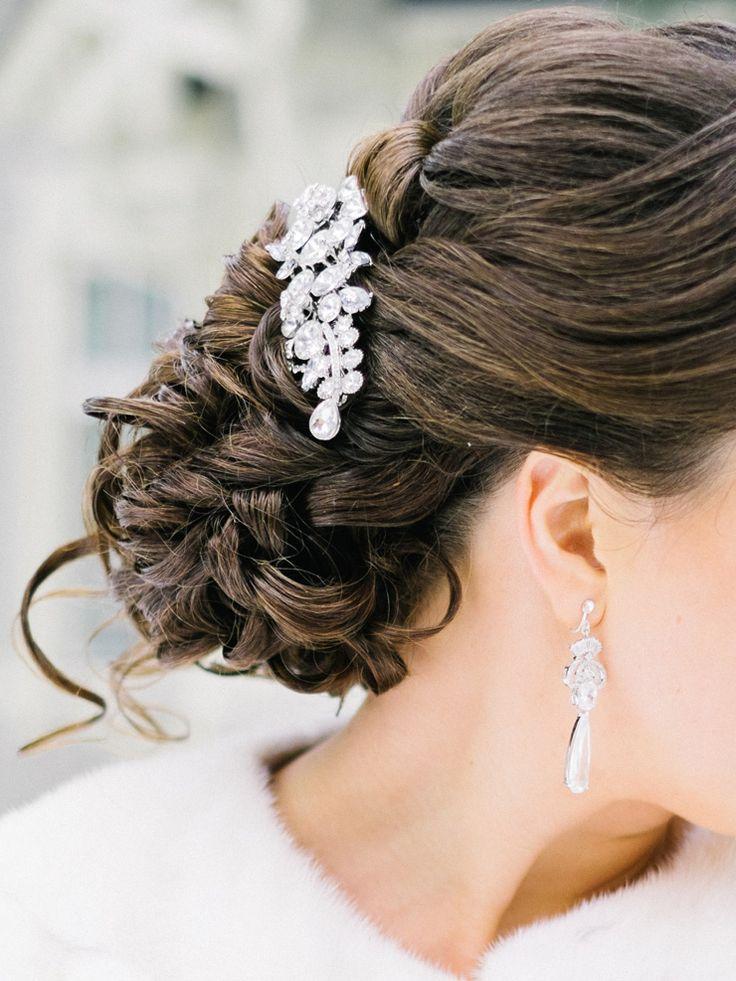 Bridal hairstyle   Light Blue Winter Wedding Read more Real Winter Weddings   fabmood.com #winterwedding