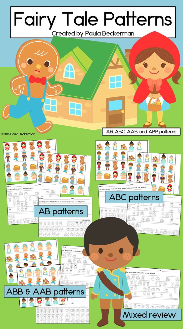 fairy tale patterns math center with ab abc aab abb patterns activities student and the o. Black Bedroom Furniture Sets. Home Design Ideas