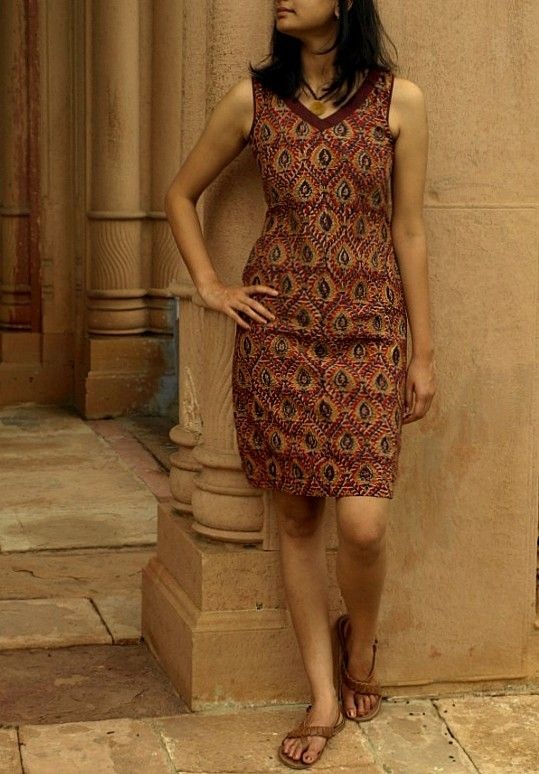 Shift dress: hand-block printed mulmul with kalamkari motifs