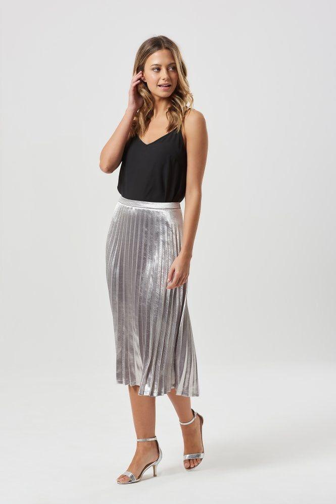 69e143c7b Lynette Silver Metallic Pleated Midi Skirt | cute in 2019 | Silver ...