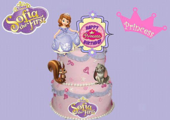 Sofia the First 4 Piece Cake Topper Set by HandmadePartyDecor, $12.00