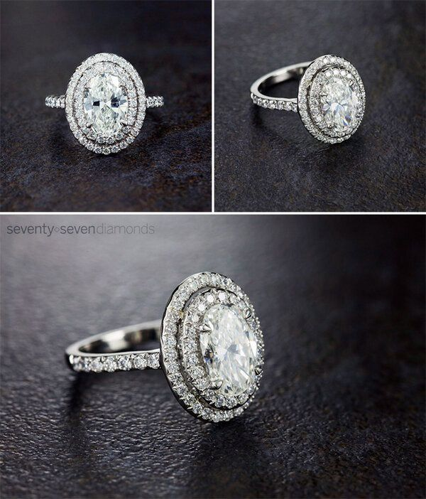 Oval-cut diamond engagement ring with double halo.