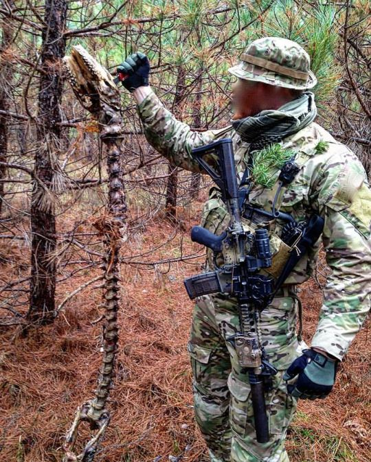 A member of the Canadian Special Operations Regiment holds the skull and spine of an animal while on exercise, 2015