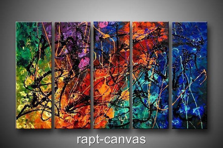5pc Pintura Al Óleo Moderno Abstracto Pared Decoración Arte Lienzo, (sin Marco)
