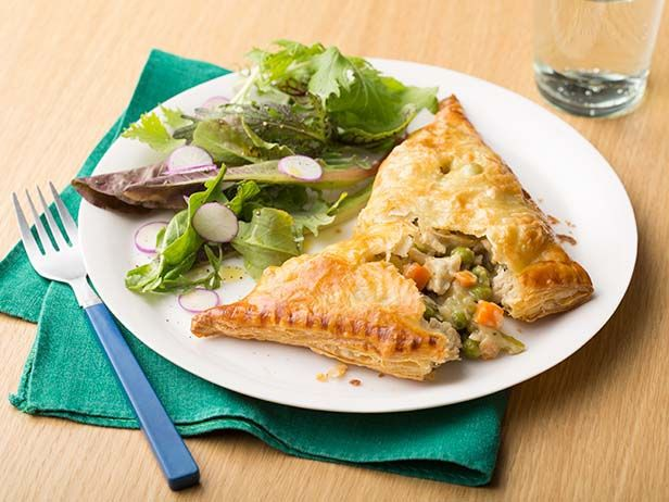 Recipe of the Day: Chicken Pot Pie Turnovers Fold up all the comforting goodness of the classic veggie-packed chicken pot pie into savory, flaky and easy-to-eat turnovers. Enveloped in store-bought puff pastry, it's a fun, portable take on the classic comfort food that'll help picky eaters to turn over a new leaf.