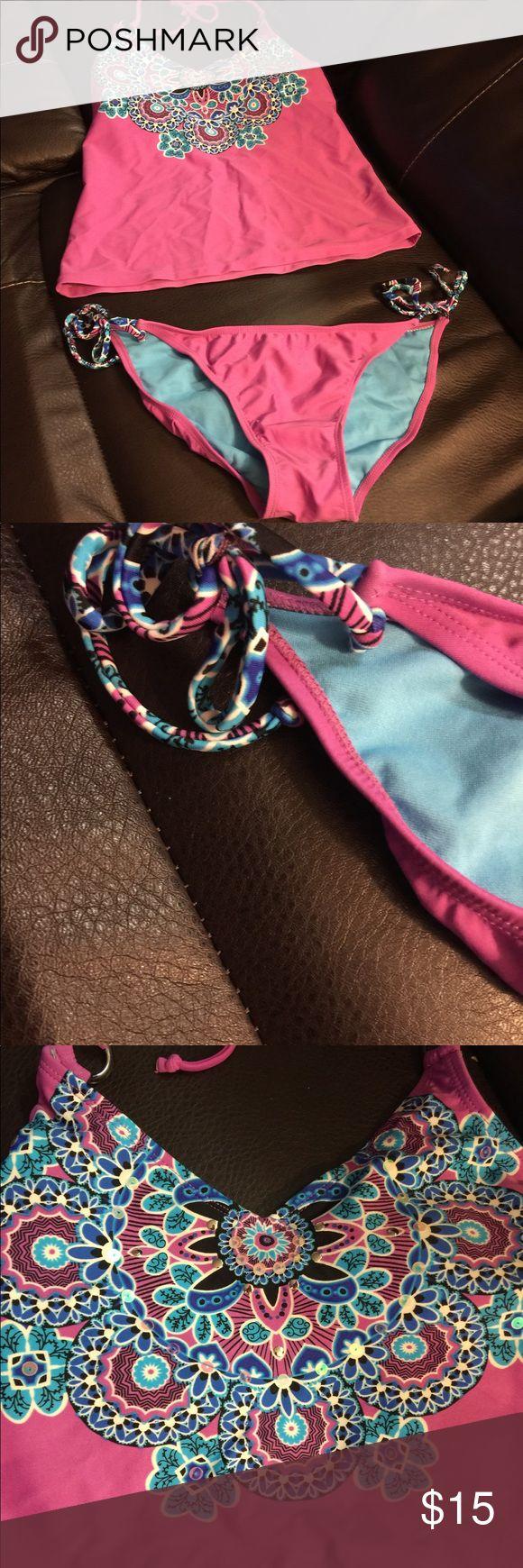 Purple Tankini Beautiful printed tankini Size M -both pieces  Xhiliration  Maybe worn once Xhilaration Swim Bikinis