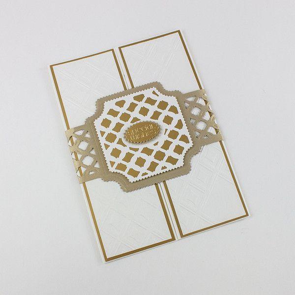 Card using Tonic Studios' Diamond Trellis Idylics Embossing Folder & Die set.