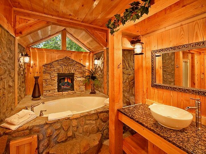 Awesome log home bathroom favorite places spaces for Log cabin bathroom pictures