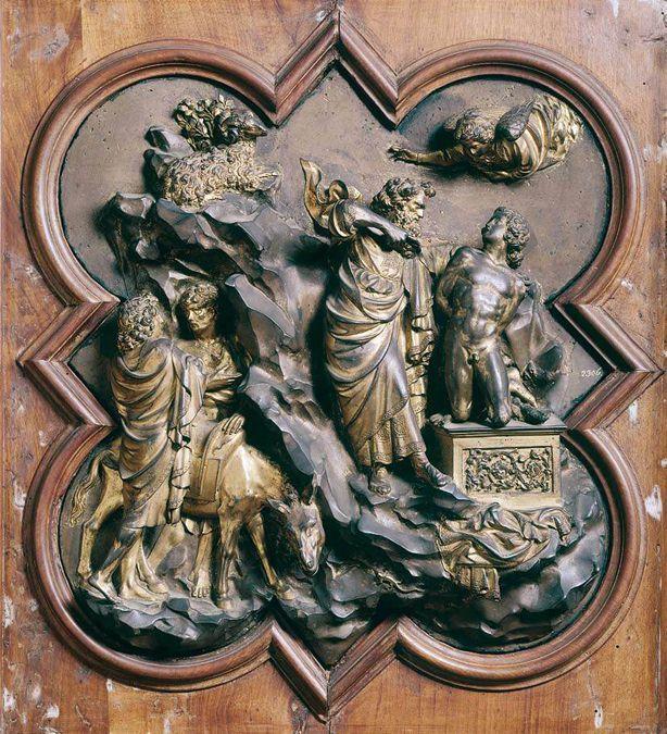 Лоренцо Гиберти. Жертвоприношение Авраама. Конкурсный рельеф для баптистерия во Флоренции. 1401 г.