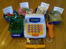 Set up a pretend candy store to have some fun with money!