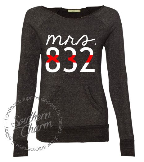 Southern Charm Designs - Thin Red Line Mrs Badge Number Top, $45.00 (http://www.shopsoutherncharmdesigns.com/thin-red-line-mrs-badge-number-top/)