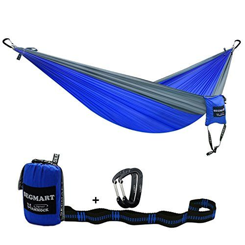 SEGMART Double XL Hammocks with Hammock Straps & Carabiners - Blue/Silver. For product info go to:  https://all4hiking.com/products/segmart-double-xl-hammocks-with-hammock-straps-carabiners-bluesilver/