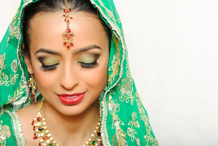 Green Indian bridal makeup by one of our talented students.