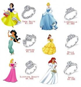 disney wedding rings...Funny, I found this 3 years after I said I do with a Cinderella and Prince Charming cake topper and my engagement ring is the Cinderella one :) perfect fit! <3