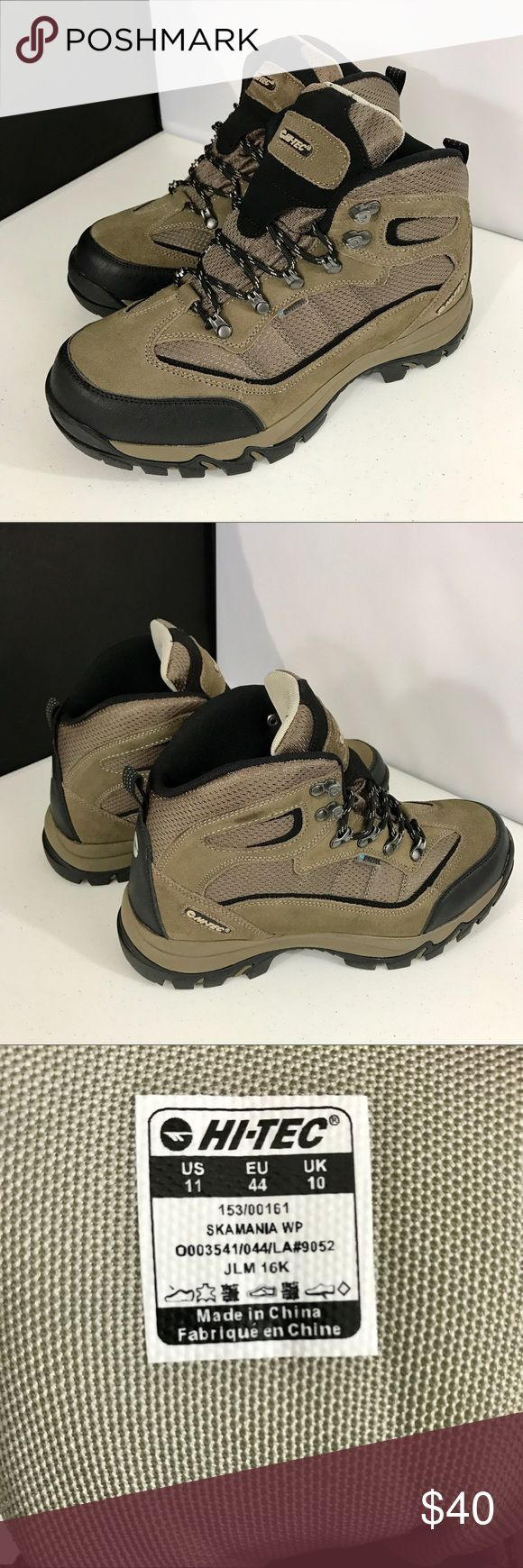 HI-TEC Skamania Waterproof Men's Hiking Boots 11 Waterproof suede leather and mesh upper. Dri-Tec waterproof, breathable membrane. Compression molded EVA midsole. Steel shank for support and stability. Multi-Directional traction carbon rubber outsold. Hi-Tec Shoes Boots