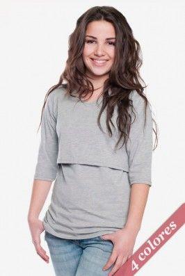 #Camiseta de lactancia Capri Manga 3/4 y cuello en V. Una prenda de #lactancia #básica, ideal como fondo de armario, por su #sencillez. Fácilmente #combinable e ideal como ropa de entretiempo. Disponible en: negro, gris melange, verde y aqua.  Acceso lactancia tipo imperio, cómoda abertura por debajo del pecho. Descúbrela en: www.tetatet.es Envíos internacionales #nursing #comfortable #Tshirt Available in different colors. Find out at: www.tetatet.es International deliveries