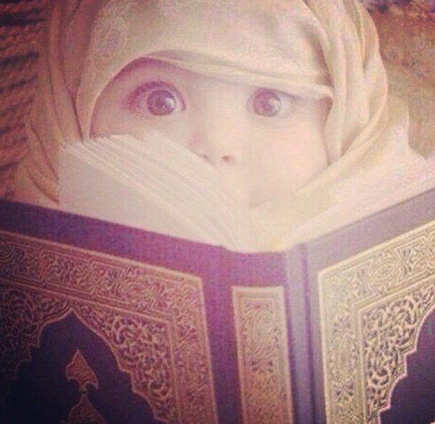 baby, cute, eyes, happy, hijab, hijabi, islam, kid, kids, love, muslimah, quran, read, sweet, vers, surah, First Set on Favim.com, allah's words