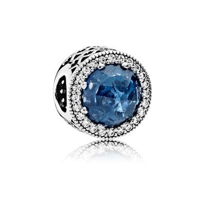 Radiant Hearts, Moonlight Blue Crystal & Clear CZ - 791725NMB - Charms | PANDORA