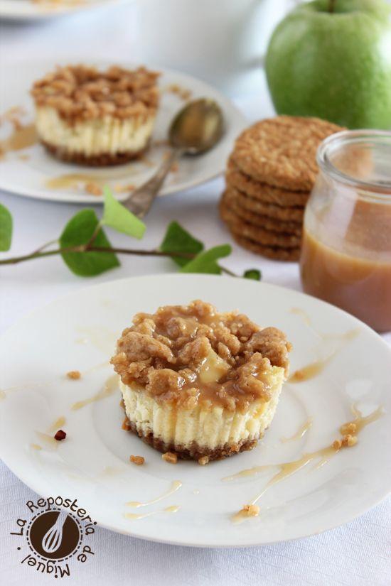 Mini Tartas de Queso con Manzana y Caramelo | La Repostería de Miguel