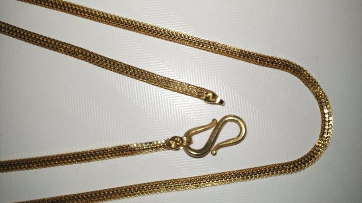 """3.70Grams Handmade Fine Necklace Chain Solid 22KT Certified Yellow Gold 18"""" Inch #Handmade #Chain"""