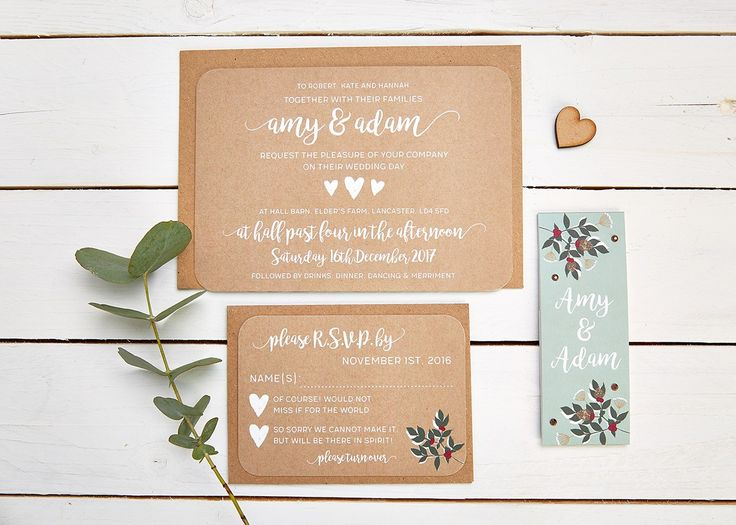 If you're looking for winter wedding invitations, these could be the ones for you. Beautiful jewel-toned berries and a touch of sparkle