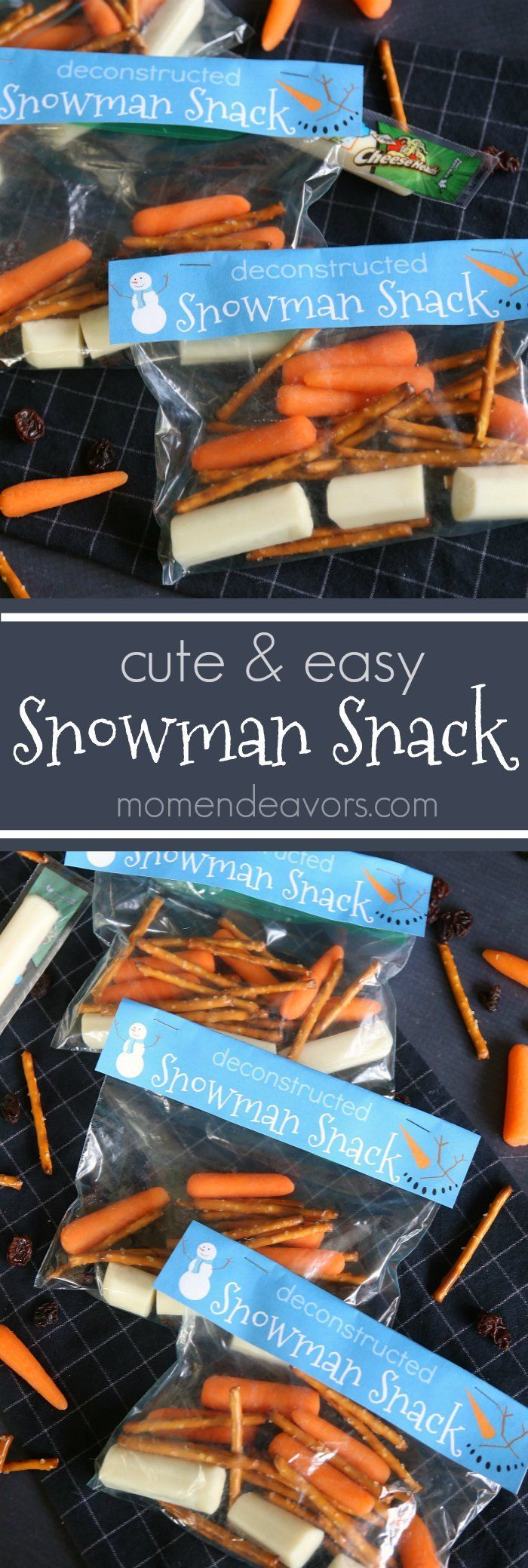 Cute & Easy Snowman Snack Idea (with free printable available) - perfect for the winter season!