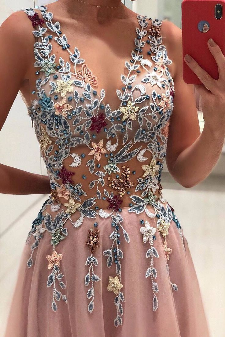 Princesa Con Cuello En V Flores Abalorios Apliques Rosa Largo Vestido De Fiesta Uzun Mezuniyet Elbisesi Uzun Mezuniyet Balosu Elbiseleri Aksamustu Giysileri