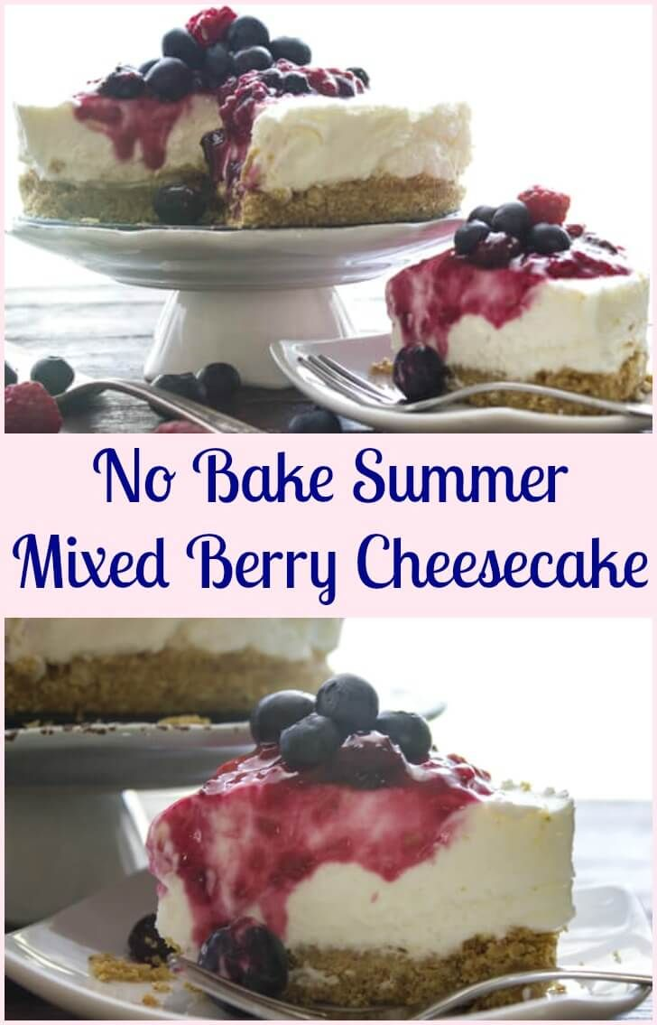 No Bake Summer Mixed Berry Cheesecake, this cheesecake recipe is the best it will become your favourite no bake dessert. Fast and easy, creamy and so delicious with an easy raspberry and Blueberry topping.