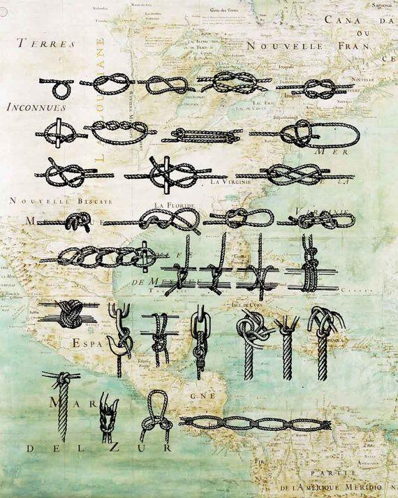 Marine Knots Print 11x14 Large SIZE PRINT on antique by PrintLand