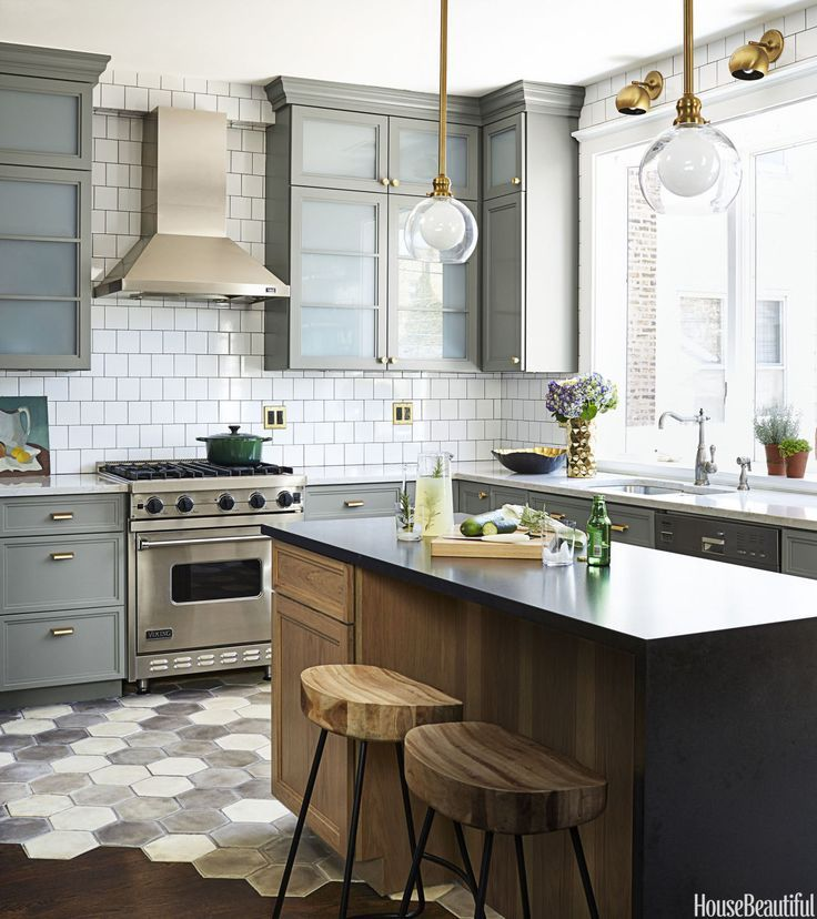 Gray White Wood And Brass Kitchen