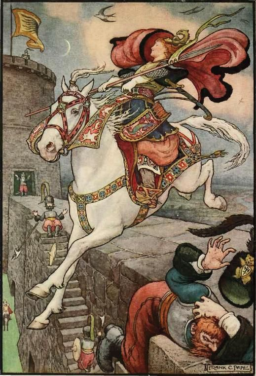 """""""She Put Her Good Steed to the Walls and Leapt Lightly Over Them"""" illustration by Frank Cheyne Papé (British, 1878-1972), for 'The Russian Story Book' by Richard Wilson, 1916."""