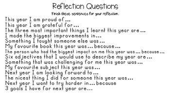 A page of 14 reflection questions for students to complete as an end of term or end of year activity.Each question is already worded as a sentence so that students just need to complete the sentences.
