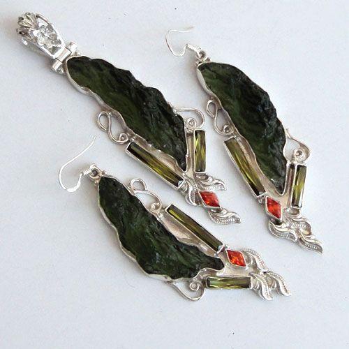 925 Sterling Silver Set3 1/4'' Moldavite Green,CZ Gemstone jewelry-163