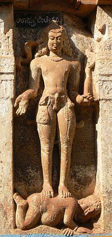Lakulish -in the 1st C. CE,  he promoted a Saivite cult called Pashupata. adding the iconic club of Shiva.. 200 years later, Lakulisha was accepted as an avatar of Shiva. Sangameshvara Temple, Mahakuta, Karnataka, Early Chalukya dynasty, 7th C.