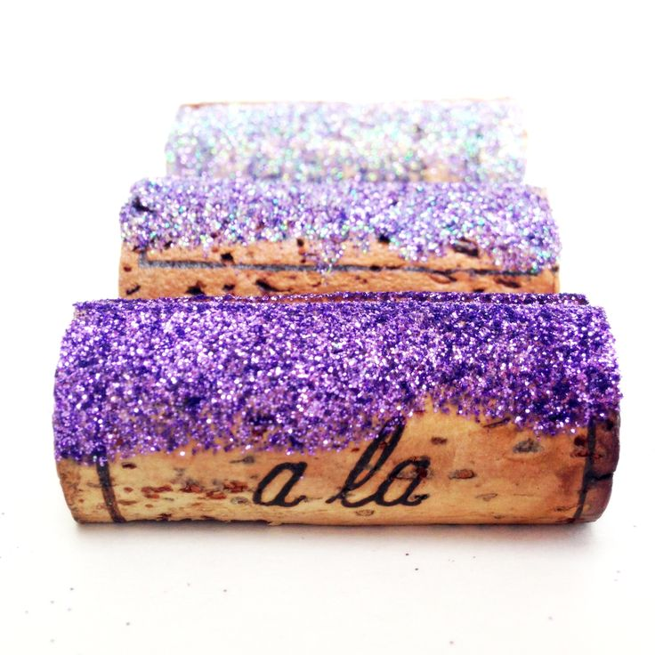 explore fun purple wedding ideas like these sparkly place card holders