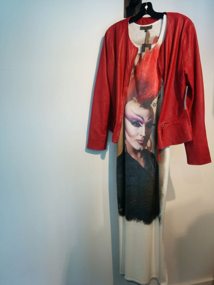 Drag Queen Punk dress by Mariagrazia Panizzi paired with a leather jacket by Cigno Nero