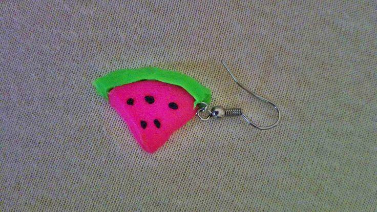 watermelon earring baked plasticine