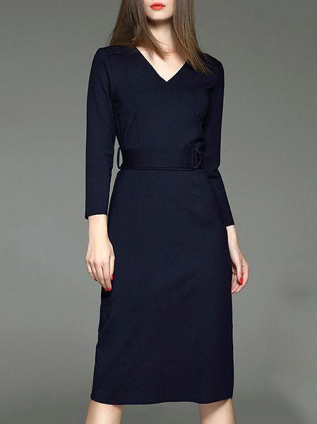 Paneled Cotton-blend Midi Dress with Belt