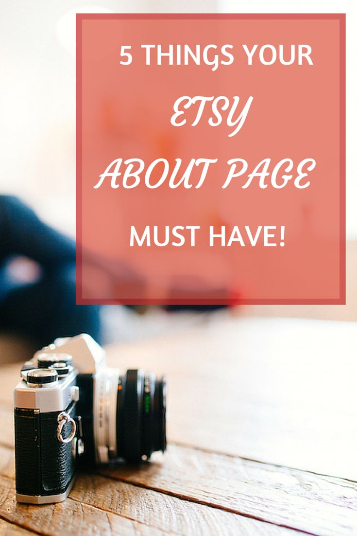 5 Things Your Etsy About page must have! You should use your about page built trust with your customers. Selling on Etsy ain't easy and your about page can go a long way toward making your customers feel comfortable enough to buy from you. Read more at craftercoach.com