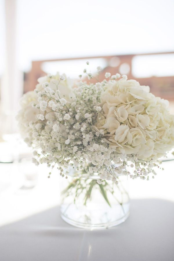 Hydrangeas & baby's breath- may be one of the most beautiful and understated flower arrangements I've ever seen! Still has a romantic, whimsical feel but isn't going to keep people from speaking across the table!