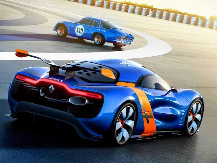 Renault Alpine A110-50 concept, with original 1960s-70s Renault Alpine A110 in the background.