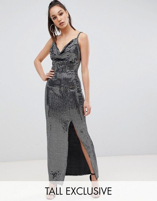 fecd8e84ed2 Missguided Tall exclusive tall sequin cowl neck maxi dress with side split  in black in 2019
