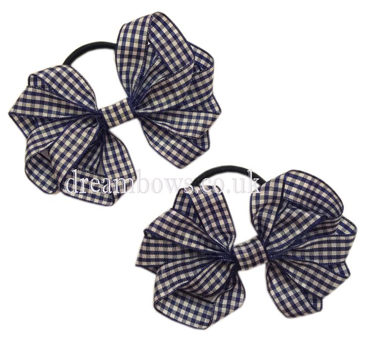 Navy blue and white gingham ribbon hair bows on thick bobbles - £2.50 a pair at www.dreambows.co.uk gingham hair bows, school hair bows, school bows, bows for girls, gingham ribbon, gingham hair accessories, girls bows, handmade hair bows, crafted hair bow
