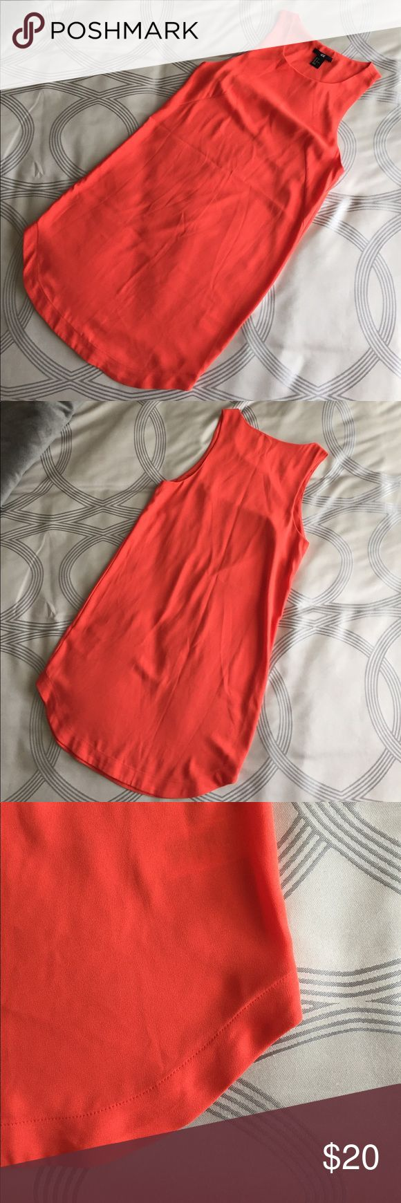 H&M Orange Shift Dress Worn once on special occasion. This dress is perfect for summer! Lightweight and airy with perfectly dolphin hem. Dress up or wear for a casual affair! H&M Dresses