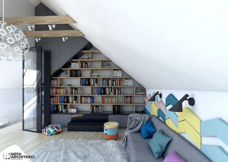 Biblioteka - kolorowy mix. - zdjęcie od NEFA Architekci - Biuro - Styl Nowoczesny - NEFA Architekci