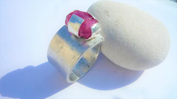 Sterling silver ring Ruby gemstone ring hammered ring