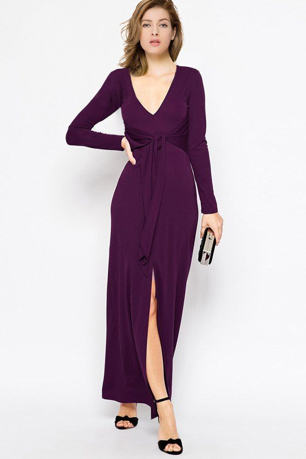 Purple Plunging Neck Long Sleeves Maxi Dress